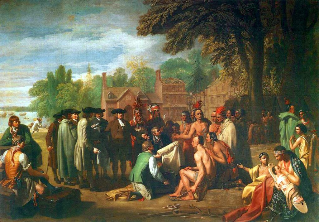 A crowd of Native Americans and Pennsylvanian Euro-Americans engaged in negotiations.