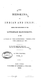 Cover of The Redskins by James Fenimore Cooper.